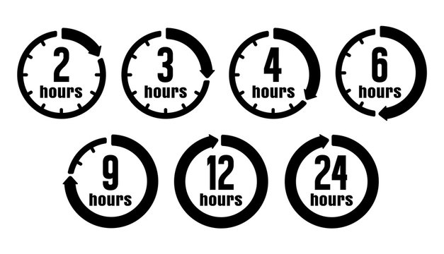Timer, clock vector icon illustration set ( hours )