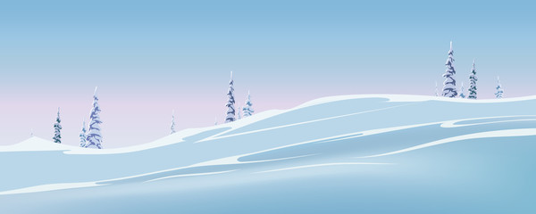 Winter landscape with spruce. Vector winter illustration. Spruce in the snow, snow drifts
