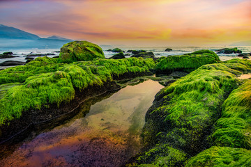 Da Nang beach with moss rocks and waves at sunrise.