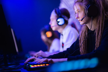 Team professional gamer playing tournaments online games computer eSport