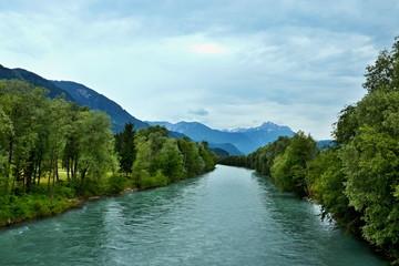 Tuinposter Rivier Austrian Alps-view on the river Drava