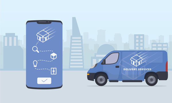 delivery truck process or step on smartphone track with city and truck van as background