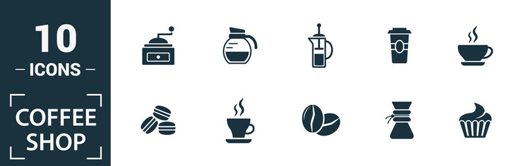Coffe Shop icon set. Include creative elements coffee beans, cappuccino, coffee machine, coffee to go, ice coffee icons. Can be used for report, presentation, diagram, web design