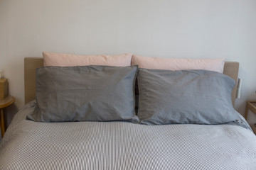Pillows on a bed soft pillows on the bed