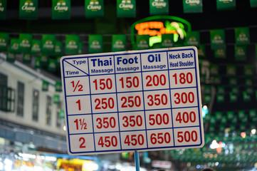 Panneau de prix pour massages à Bangkok