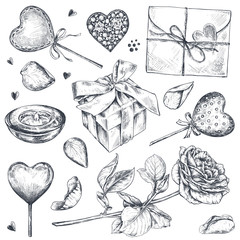 Vector collection of hand drawn vintage valentine and wedding day elements.