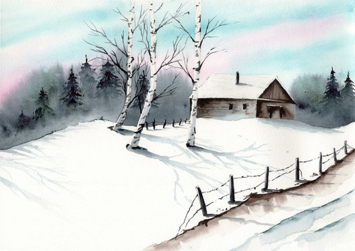 Watercolor picture of  a winter landscape with small house,  old fence,and some birch trees