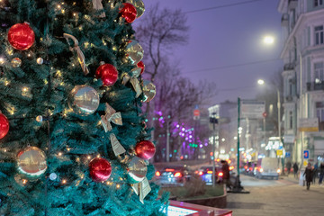 Christmas tree and blur city pedestrian street night city lights. Fotomurales
