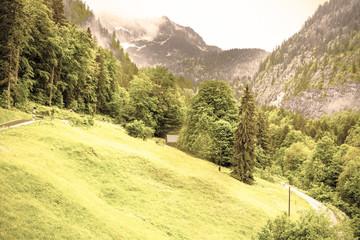 Fototapeten Gelb Schwefelsäure Austrian landscape in mountains