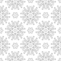 Floral seamless pattern. Blue flowers on white background
