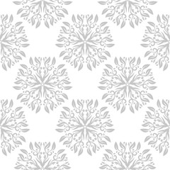 Floral seamless pattern. Gray flowers on white background for wallpapers and textile