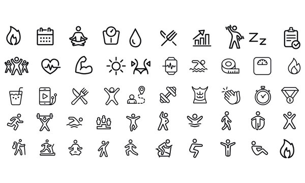 Fitness and Gym line icons vector design
