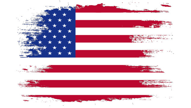 USA flag painted with brush on white background.
