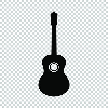 guitar icon  flat vector isolated on transparent background