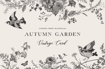 Autumn Garden. Vector horizontal card. Flowers, birds, butterflies. Black and white