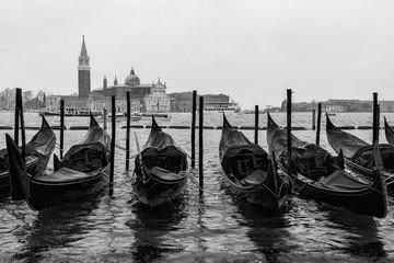 Foto auf AluDibond Gondeln Venedig / Gondeln