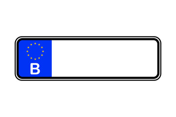 Belgium blank license plate with free copy space place for text and European Union EU flag