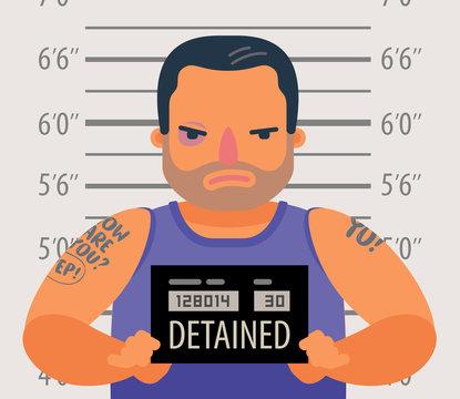 Detained dangerous criminal. Prisoner, convicted cartoon vector illustration