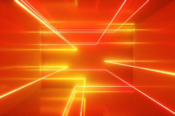 Fototapeta Abstract background, moving neon rays, luminous lines inside the room, fluorescent ultraviolet light, orange spectrum, 3d illustration obraz