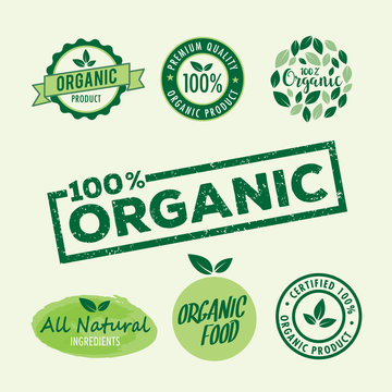 Set of stamp lettering for organic product, natural ingredients logo badge vector template illustrator