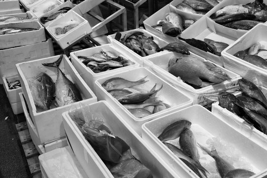 London fish market. Black and white retro toned.