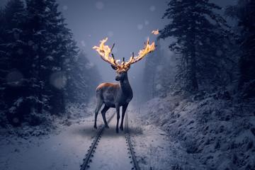 Ein Hirsch mit brennenden Geweih steht im Winterwald