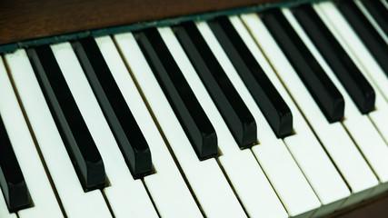 music notes and piano keyboard close-up
