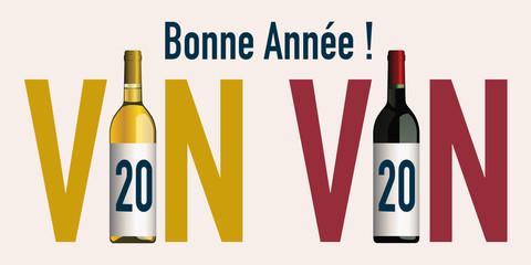 Concept de carte de vœux 2020 originale pour le monde viticole, avec deux bouteilles qui associent le chiffre 20 avec le mot vin.