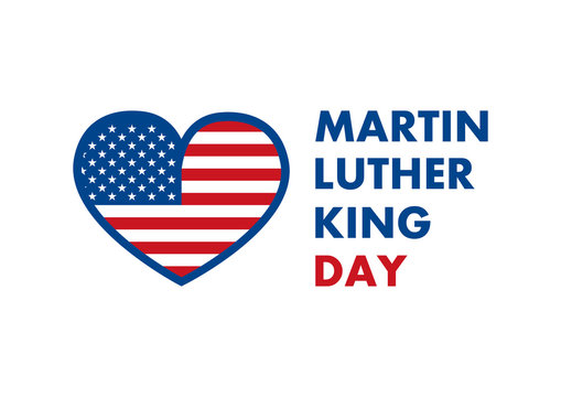 Martin Luther King Jr. Day vector. American hero icon. American flag heart.  Martin Luther King Day icon isolated on a white background. American federal holiday. Important day