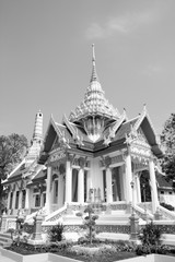 Wall Mural - Thailand temple. Black and white retro style.