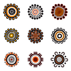 Aboriginal art dots painting icon logo design illustration template