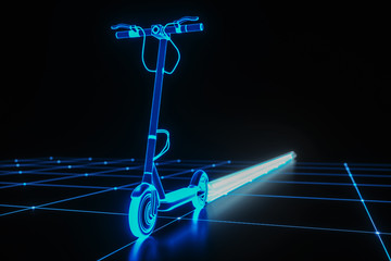 virtual e scooter pulls a beam behind it (3d rendering) Fototapete