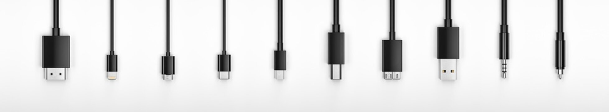 Black Realistic hdmi , 8-pin, micro usb, usb, Type C, type B mini jack 3.5, cable on White Background. 3d rendering