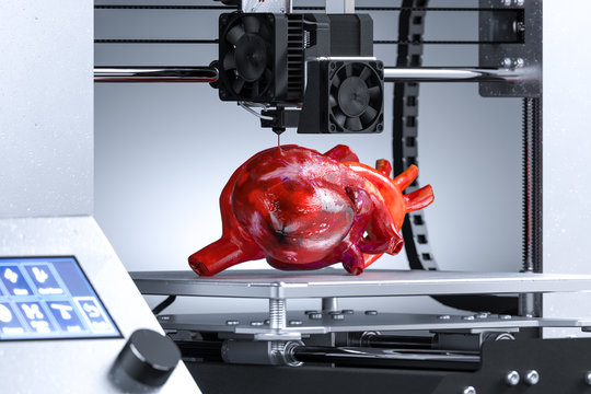 Three-dimensional Printer Printing Realistic Heart For Transplantation. Futuristic Technologies. 3d rendering.