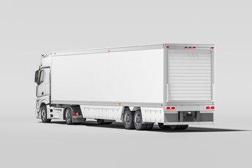 Back View Of Powerful White Semi Truck With Empty Space On Refrigerator For Long Haul Delivery. 3d rendering