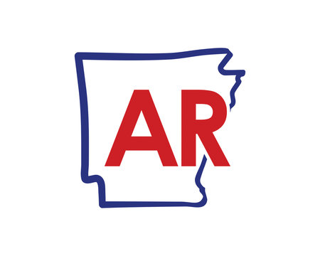 Outline Arkansas Map And abbreviations Logo Design Template 002