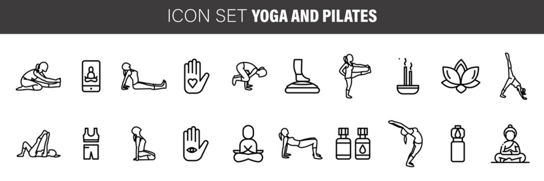 yoga and pilates line icons, signs set, vector. Pilates outline concept