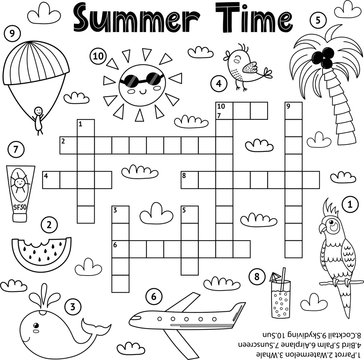 Summer time black and white crossword game