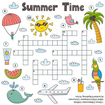 Summer time crossword game for kids. Funny educational activity page
