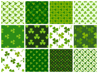 Green clover leaves seamless patterns set