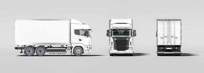 Side View, Front View And Back View Of White Truck With Empty Space On Refrigerator For Haul Delivery. 3d rendering
