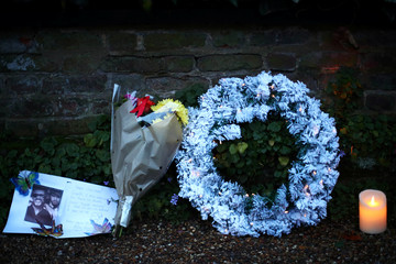 Tributes are seen outside the home of former singer George Michael in London
