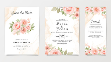 Wedding invitation card template set with flower bouquet. Peach roses with fluid background. Floral illustration for save the date, greeting, poster, cover vector Fototapete