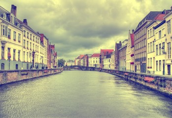 Photo sur Toile Bruges Brugge, Belgium. Retro filtered color tone.