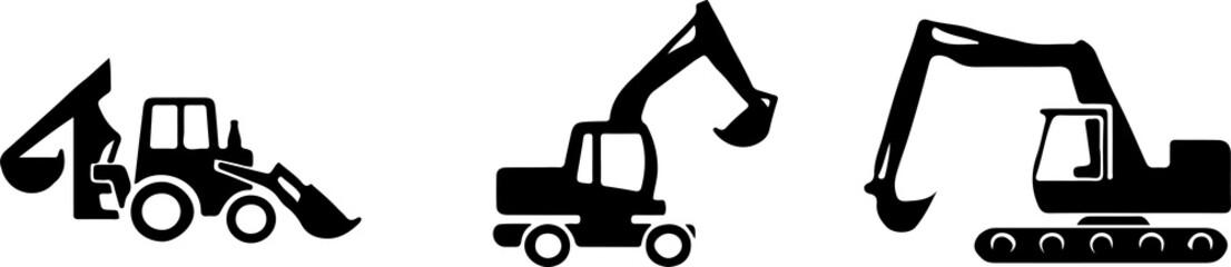 excavator icon isolated on white background