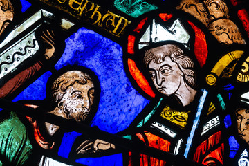 Fotobehang Graffiti collage Bourges cathedral stained glass, Lucianus finds the tomb of St Stephen, detail