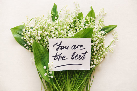 You are the best - card with lettering and bouquet of flowers, motivation and compliments concept