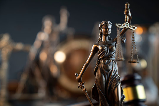 Law symbol composition and background. Themis statue and scale.