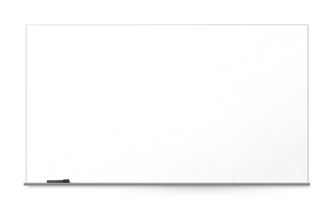 Blank office whiteboard on the wall, isolated on white background.