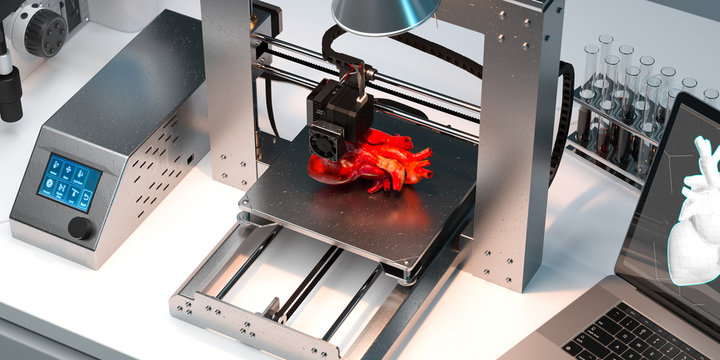 3D Printer Printing Heart In Modern Laboratory. Futuristic Technologies. Three-dimensional Transplantology. 3d rendering